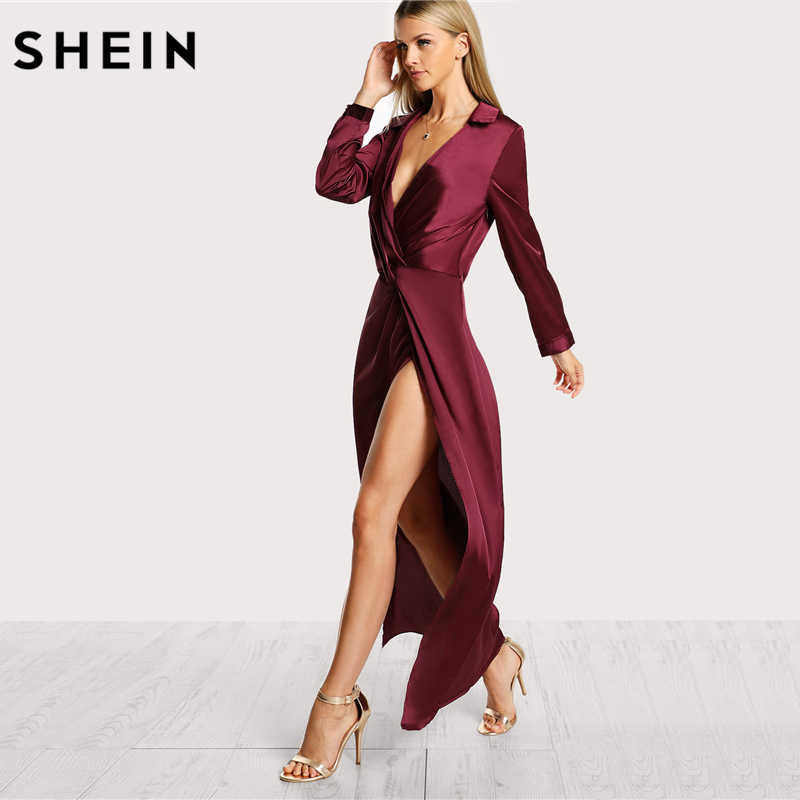 eac92f64ba ... SHEIN Burgundy Sexy Party Dress Satin Front Twist Wrap Dress Lapel Deep  V Neck Long Sleeve ...