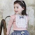 Camisetas menina da outono inverno roupa interior 100% algodão t camisas dos miúdos menina gola longo luva lace pérola camisola assentamento camisas