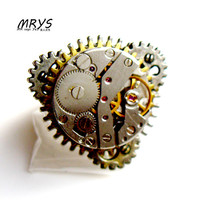 steampunk rock watch movements parts gears one finger ring for men women girls boys antiqued jewelry christmas gift party trendy