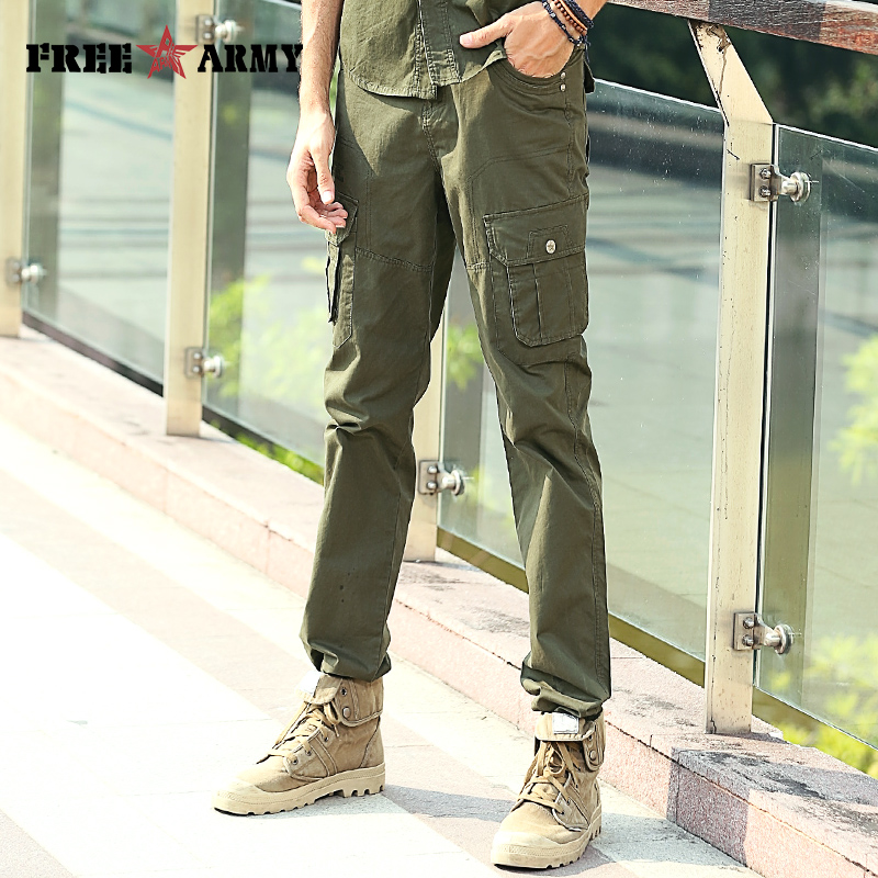 Brand Mens Pants Casual Cargo Pants Multi-Pocket Vintage Military Pants  Army Green Overalls Male Cotton Tactical Pants Trousers 6595c5c03e6