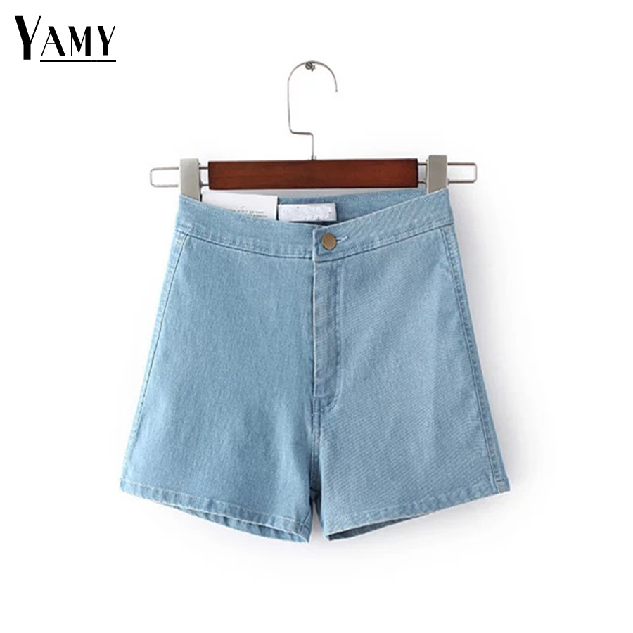 2017 Brand one button jeans   shorts   Summer Sexy elastic High Waist Denim   Shorts   Female White/black/blue slim hot   shorts   for woman
