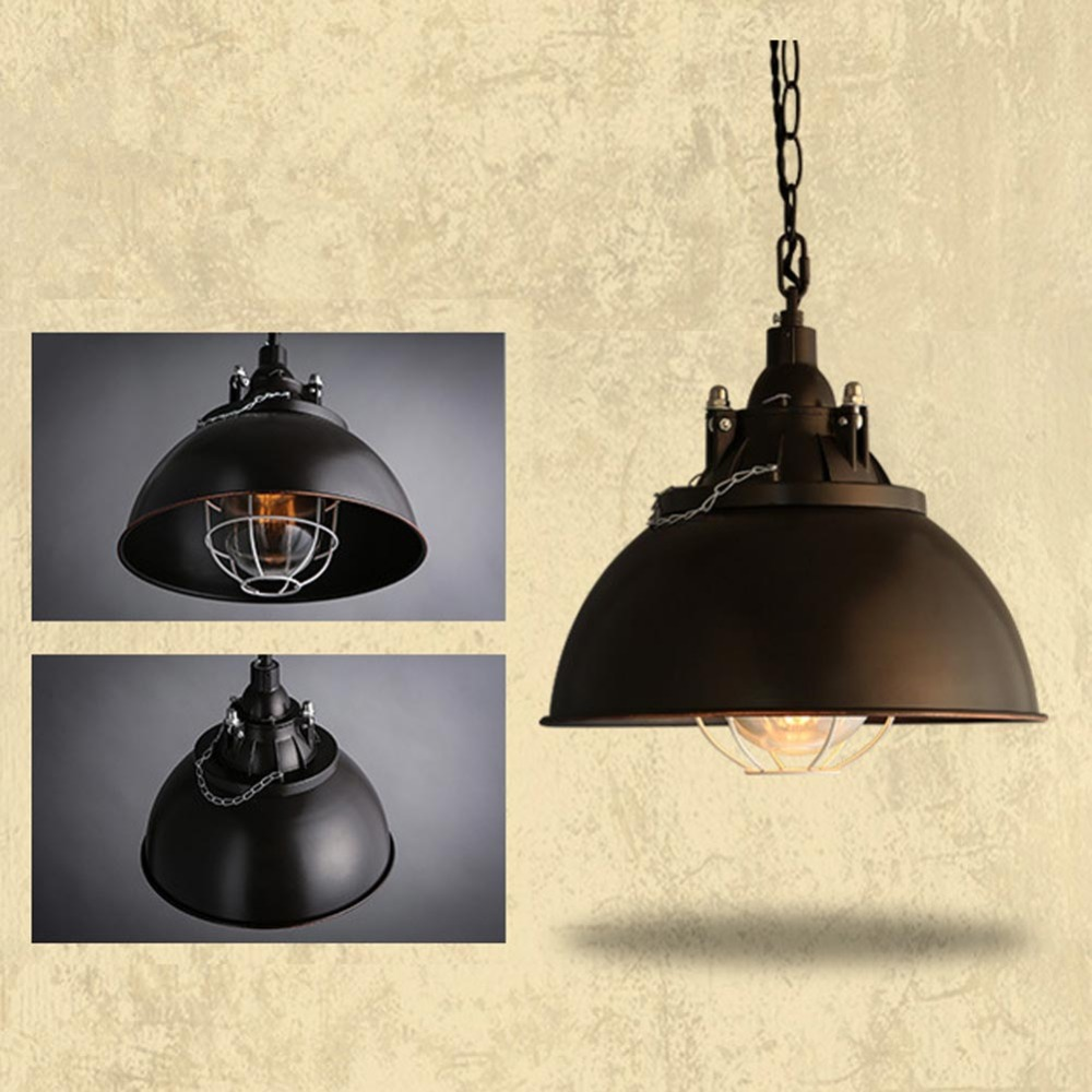 Vintage Wrought Iron Lid Pendant Lights Black Industrial Ceiling Pendant Lamps Loft Light Fixture For Restaurant Kitchen Light loft style metal cage ceiling lights hotel corridor creative ceiling lamps restaurant aisle balcony kitchen for home lighting