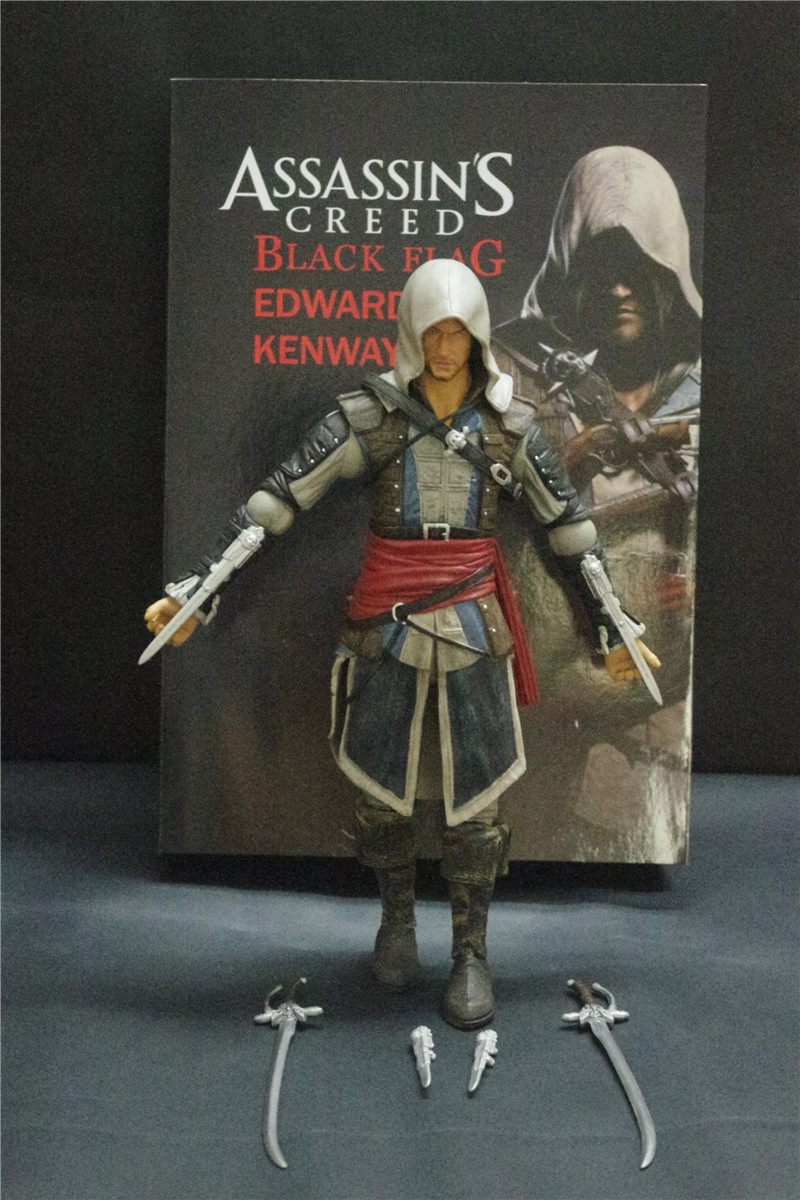 SAINTGI Assassin's Creed Edward James Kenway PVC 30CM Action Figure Collection Game Model Dolls Kids Toys T496 saintgi ow reaper genji soldier 76 pvc 25cm game action figure model kids toys gifts collection in stock