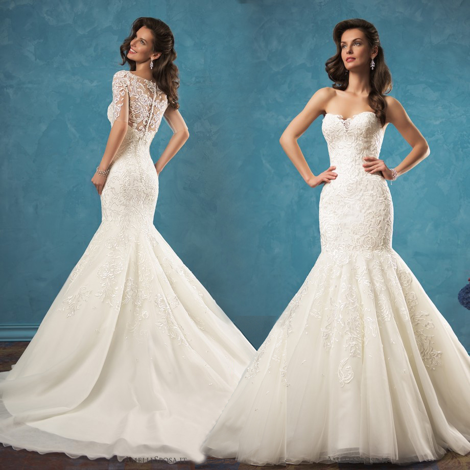 Sweetheart Mermaid Wedding Gown: Ivory Lace Mermaid Wedding Dresses 2017 New Sweetheart
