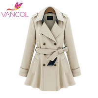 Vancol 2016 Trench Coat Długie Kobiety Jesień Zima Slim Zagęścić Długi Płaszcz z Kokardą Kopii Guzika dla Pań Europejskich Niebieski