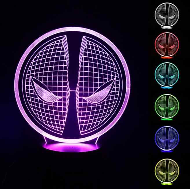 3d иллюзия Лампа Дэдпул ночник рядом с лампой с 7 изменением цвета, Smart Touch и ABS база, Детский Классный милый подарок, Прямая доставка