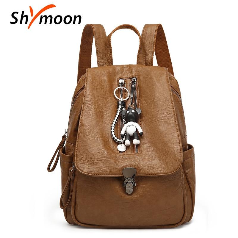 SHYMOON femmes Anti-vol sacs à dos mode étanche voyage sac à dos en cuir sacs d'école pour fille féminine Kenken Mochila 6610