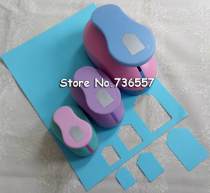 """Image 1 - 3pcs 1.5 2"""" 3"""" DIY Paper Tag Card Cutter Scrapbook Shaper Large scale Embossing device Hole Punch Kids Handmade Craft gift"""