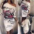 Primavera Outono 2016 Da Forma Das Mulheres Floral Impresso Vestido de Um Ombro 3/4 Vestidos Das Senhoras Da Luva Bodycon Sexy Mini Vestido Longo Top