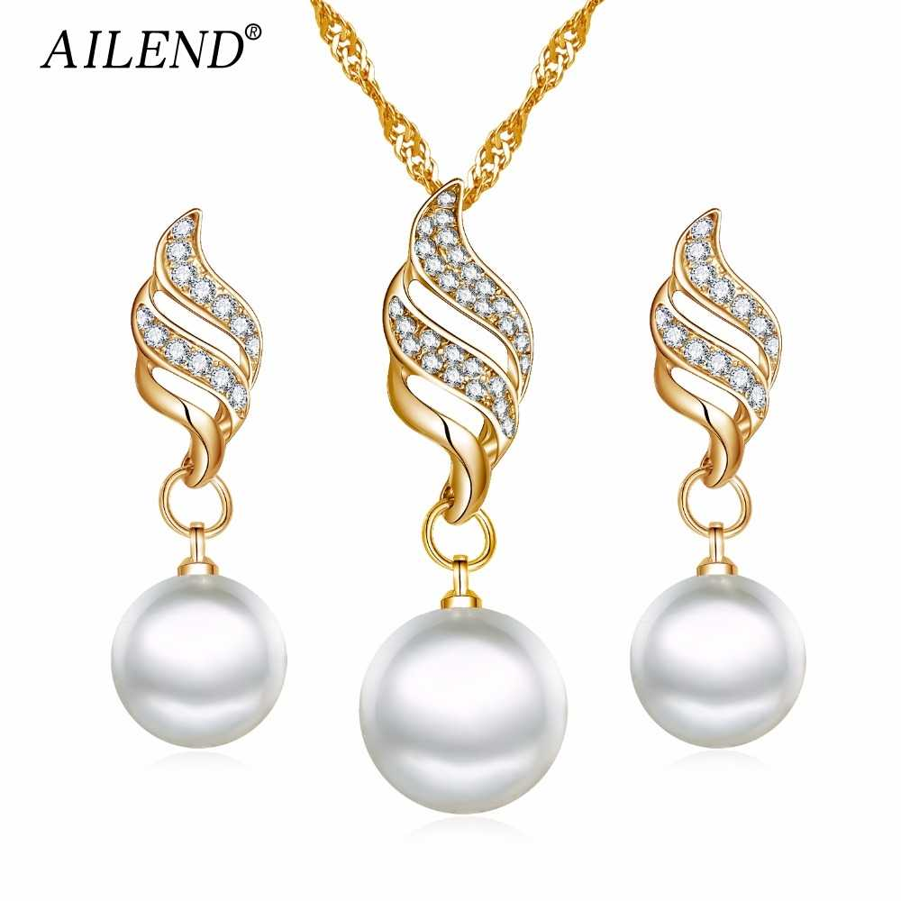 AILEND Fashion Women Necklace Earrings Jewelry Sets Crystal Gold Color Big Simulated Pearl Wedding Party Jewelry Sets For Women