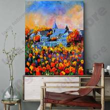 Nature Flowers Picture Autumn Yellow Leaf Stream Canvas Painting Print Landscape For Living Room Wall Art Home Decor