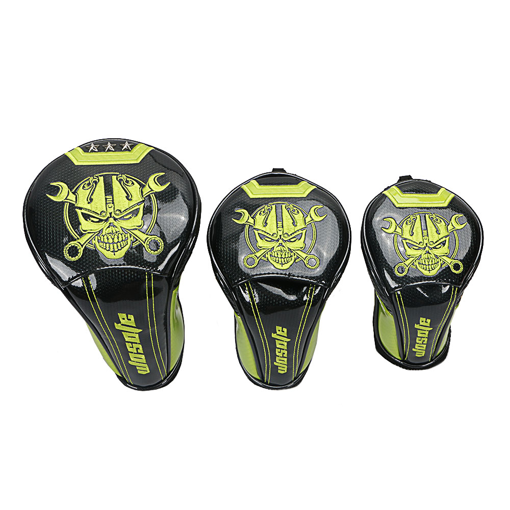 Image 4 - NEW Golf Club Headcovers 1# Driver 3# 5# Wood # Hybrid Cover black PU Leather with green Skull embroidery Head Covers-in Golf Clubs from Sports & Entertainment