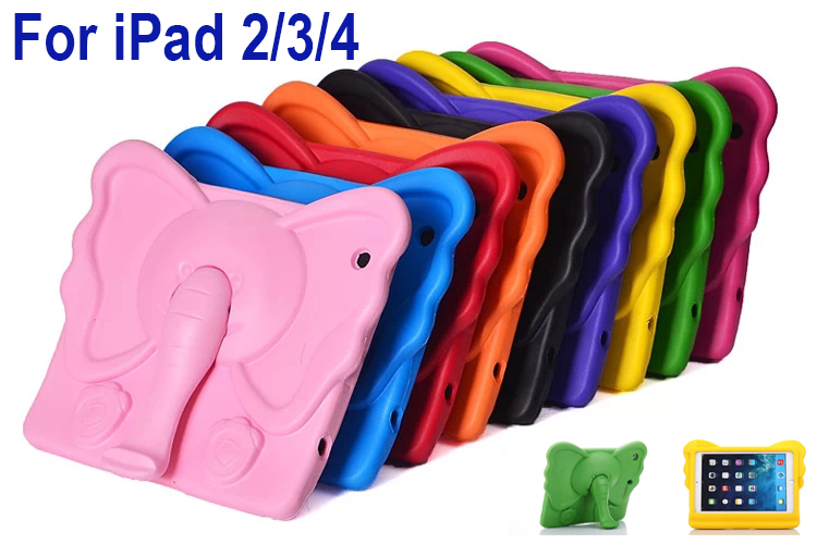EVA Foam washable Shockproof Soft Case Cover for iPad 2/3/4 Children Kids Cartoon Elephant nose Tablet Protective Tempered Glass
