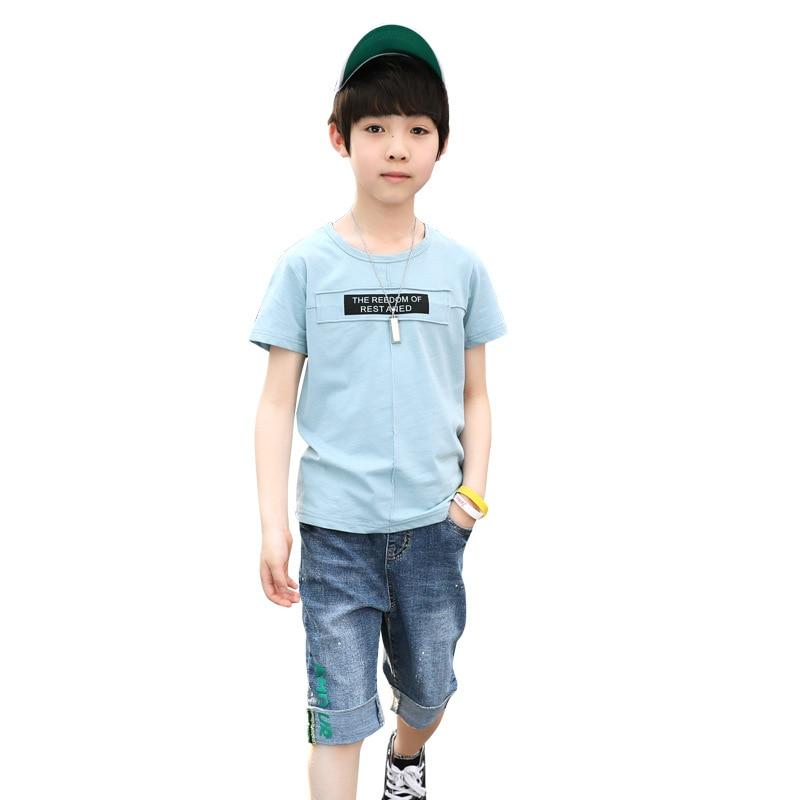 fe07f7213 5 6 8 9 10 11 12 13 Years Baby Boy Clothes Set Summer Short Sleeve ...