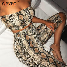 Sibybo Snake Skin Print Strapless Sexy Two Piece Set Playsuit Women Off Shoulder Crop Top and Shorts Set Casual Short Jumpsuit(China)