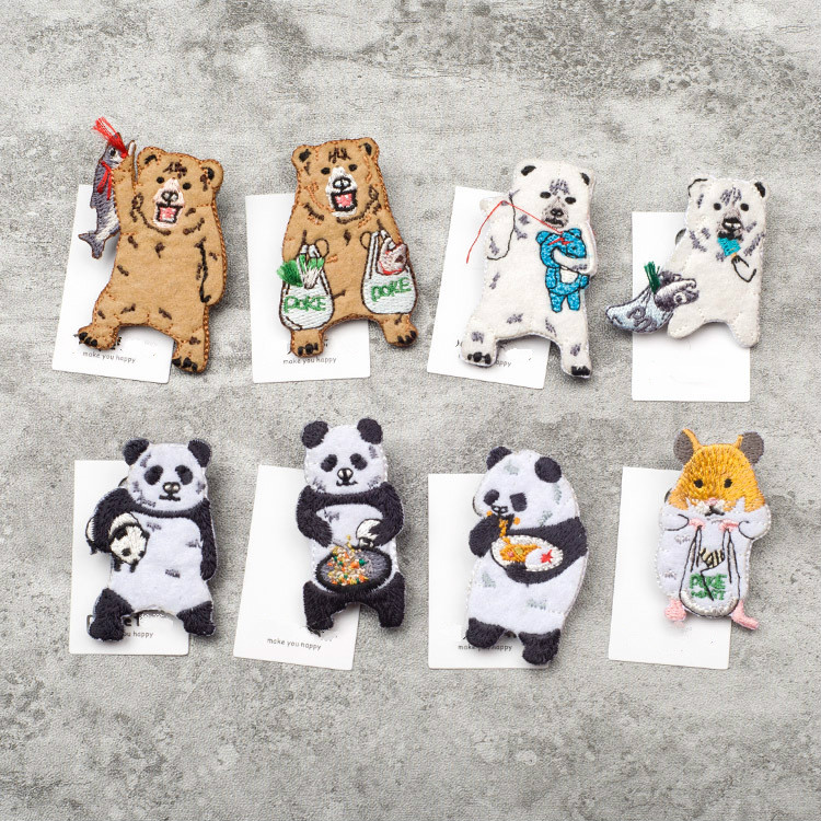 Apparel Sewing & Fabric Amicable 5pcs/lot Japanese Stylle Cartoon Animals Brooches Bears Embroidery Pin For Girls Lapel Pin Hat/bag Pins Women Badge Sc4496 High Quality Goods
