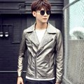 men oblique zipper motorcycle outerwear trend costume The singer's clothing 2016 suit collar silver leather clothing