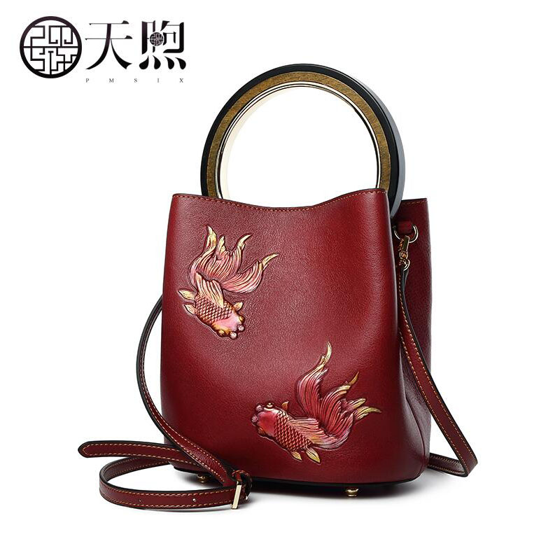e9373619dc Tmsix 2018 New women Genuine Leather bags fashion Embossed designer women  bag leather handbags shoulder Bucket bag-in Top-Handle Bags from Luggage    ...