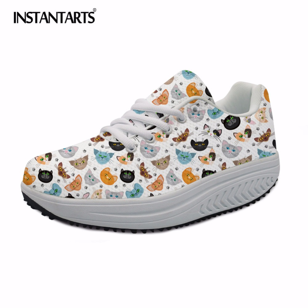 INSTANTARTS 3D Kawaii Pet Cat Printed Women Casual Flat Platform Shoes Women's Spring Mesh Sneakers Fashion Female Swing Shoes instantarts cute glasses cat kitty print women flats shoes fashion comfortable mesh shoes casual spring sneakers for teens girls