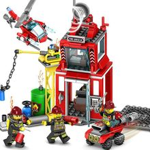 Fire Station Model Blocks Compatible Legoings City Bricks Block ABS Plastic Educational Toys For Children все цены