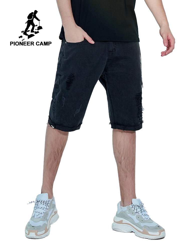 Pioneer Camp New Fashion Leisure Mens with Zipper Short   Jeans   Cotton Shorts Breathable Tearing Denim Shorts Male ANZ901129
