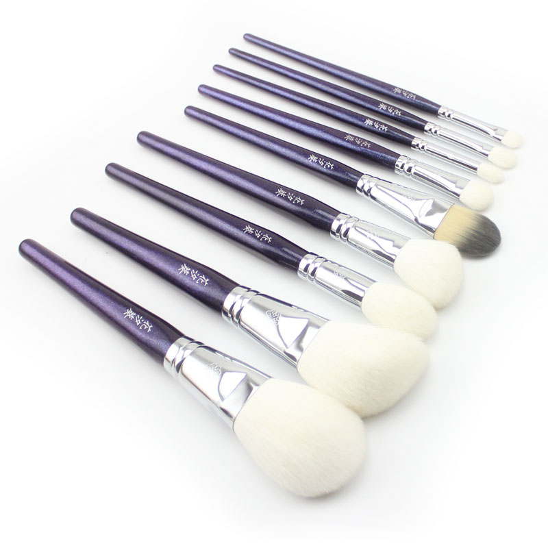Professional 9pcs Makeup Brushes Set Soft Goat Synthetic Hair Powder Foundation Blush Eye Shadow Make Up Brush Cosmetic Tools 8pcs rose gold makeup brushes eye shadow powder blush foundation brush 2pc sponge puff make up brushes pincel maquiagem cosmetic
