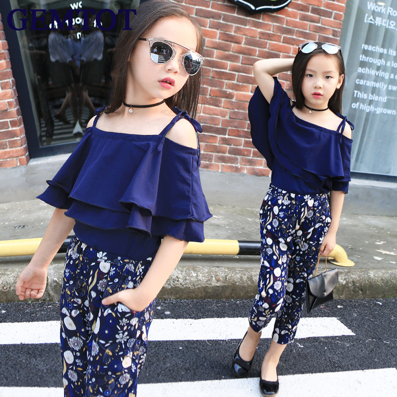 GEMTOT Girls Set Clothes Kids Fashion Top Pant Two Piece Children Summer Suit Girls Boutique Outfits 7 8 9 10 11 12 13 14 Years fashion high quality brand letter children 3 piece suit boutique girls clothing size 8 to size 13 year