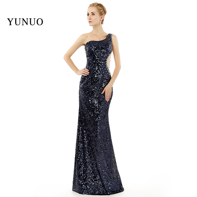 803b406e150 Блестящие Бисер блестками сексуальный См. Хотя спинки вечернее платье  черный свадебные платья на одно плечо