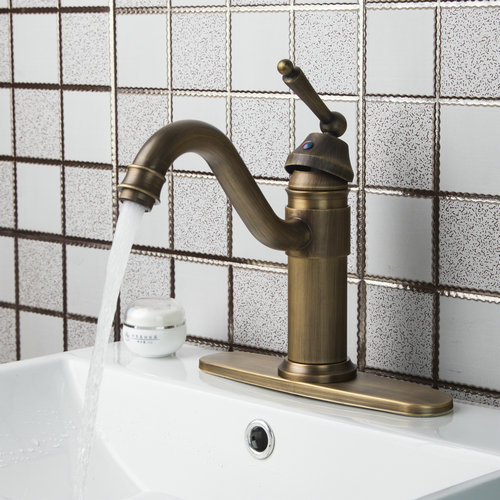 Kitchen Faucets Antique Brass Swivel 360 Single Handle Cover Plate 86445726 Ouboni Torneiras Cozinha Sink Faucets