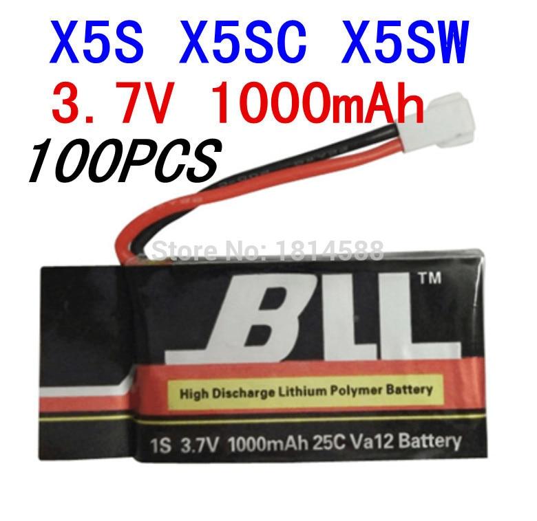 100PCS Syma X5SW X5SC X5S Spare Part 3.7V 1000Mah 25C Va32 Upgraded Lipo Battery 100pcs syma x5sw x5sc x5s spare part