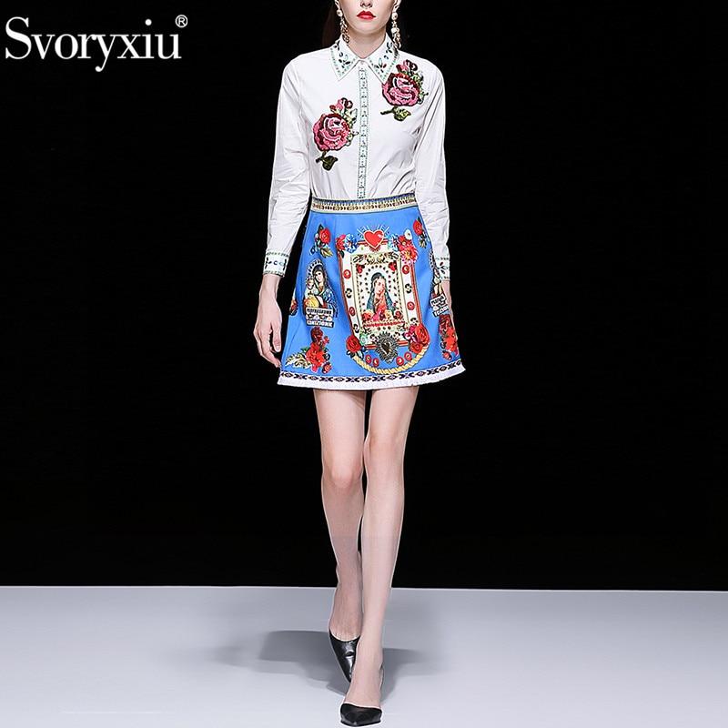 Svoryxiu Fashion Runway lato haft spódnica garnitur kobiet Sequined Rose biała bluzka + Tassel spódnice drukowane dwuczęściowy zestaw w Zestawy damskie od Odzież damska na  Grupa 2