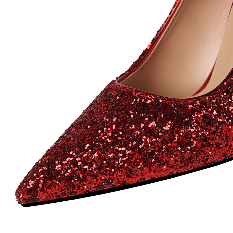 2019 Luxury Brand Fashion Metal Women 39 s High Heels Shallow Wedding Solid Bling Pointed Toe Women Pumps Super High Elegant Party in Women 39 s Pumps from Shoes