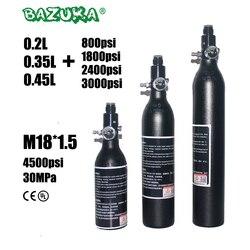 PCP Paintball Airforce Airsoft plongée HPA cylindre M18x1.5 0.2/0.35/0.45L bouteille d'air en alliage réservoir avec régulateur 4500psi/3000psi