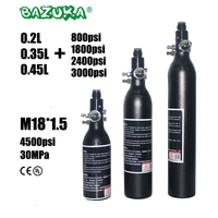 PCP Paintball Airforce Airsoft Diving HPA Cylinder M18x1.5 0.2/0.35/0.45L Air Bottle Alloy Tank with regulator 4500psi/3000psi