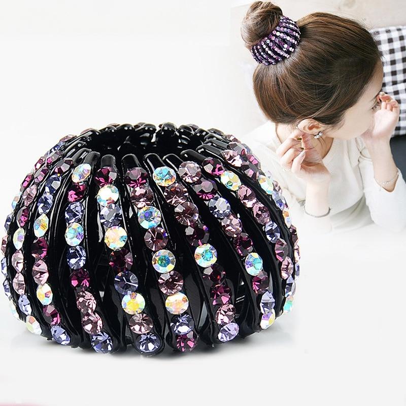 Fashion Girls Crystal Hair Bun Maker Ponytail Holder Hair Clips for Women Donut Styling Hair Fold Wrap Hair Accessories   Headwear