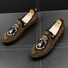 men fashion party nightclub wear breathable cow leather rhinestone shoes slip on embroidery lazy shoe teenager rivets loafers large size mens fashion wedding party cow suede leather shoes slip on lazy driving shoe nubuck flats loafers breathable sapatos