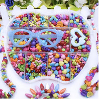 Big Apple Shape Box Girl Beads DIY Toys With Glasses Beads Make Up Puzzle Toys Jewelry