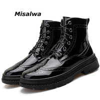 Misalwa High Quality Mens Patent Leather Brogue Chelsea Boots Vintage Lace Wedding Dress Men Shoes Claret Footwear Chaussure