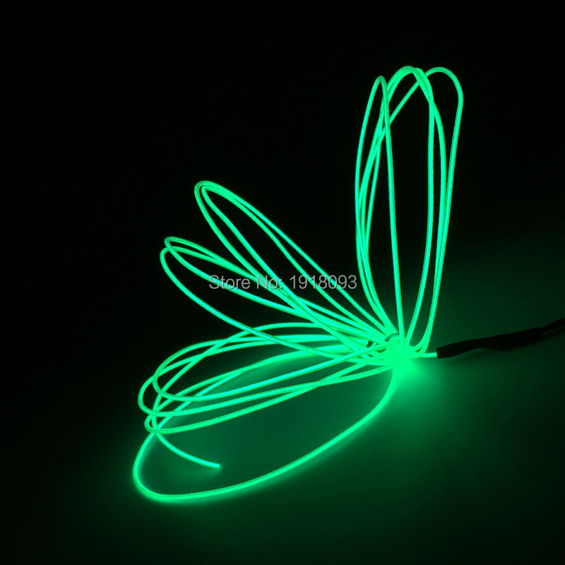 Hot High Quality EL Wire Glowing For Event Party Novelty Lighting Green 1.3mmm 5Meter Long