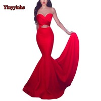 Sexy Backless Evening Dress Long Prom Gown 2019 Mermaid Vestido De Festa Sweetheart Pleated Evening Prom Dresses CG44