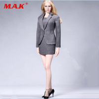 1 6 Scale Female Suit Set Office Gril Suit Dress Set Gray Black Blue Color For