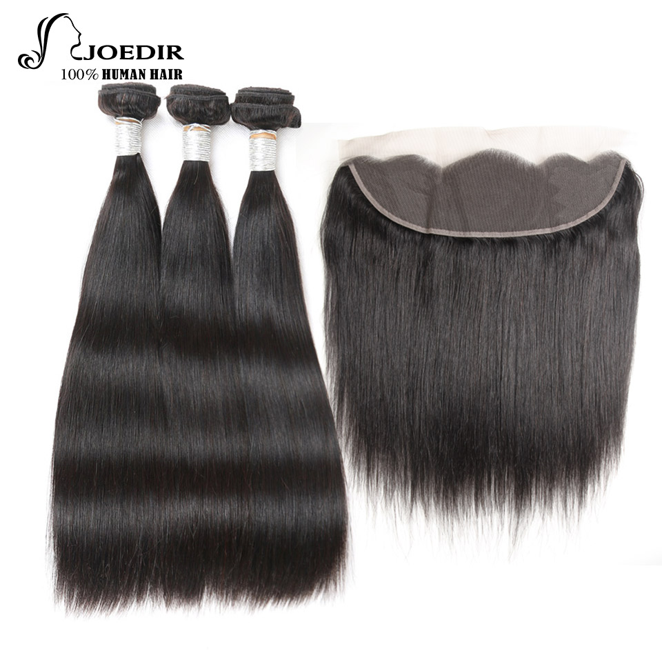 Joedir Lace Frontal Closure med Bundles Non Remy Peruvian Straight - Menneskehår (sort)