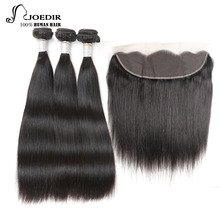 Joedir Pre-colored Straight Peruvian Virgin Hair 1 Pack 3 Bundles Human Hair Bundles With Frontal Closure 13×4 Free Shipping