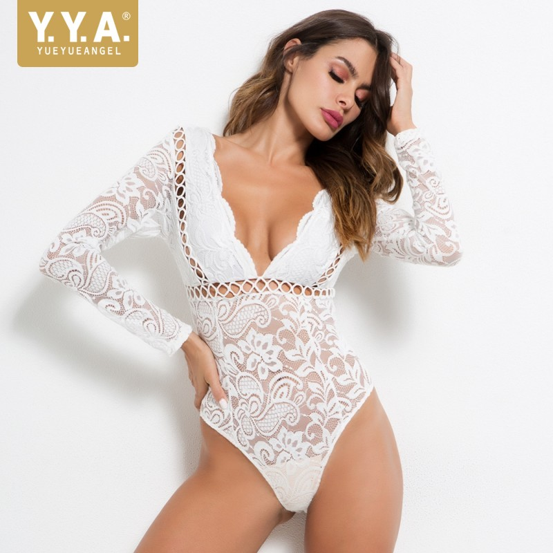Women Hollow Out Jumpsuit Sexy White Lace Bodysuit Ladies Long Sleeve Party Club Deep V Neck Bodysuits Summer Backless Jumpsuits