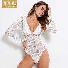 YueYueAngel Women Hollow Out Sexy White Lace Ladies Long Sleeve Party Club