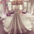 Половина Рукава Великолепная Свадебные Платья О-Образным Вырезом Прекрасный Шампанское Невесты Платья Vestido Де Noiva Прополка Платья Z906