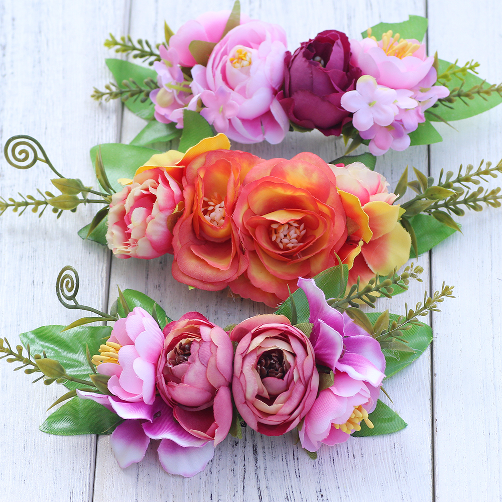 Blooming Flower Corsage Brooch Pins Fabric Flower Hair Clips Women