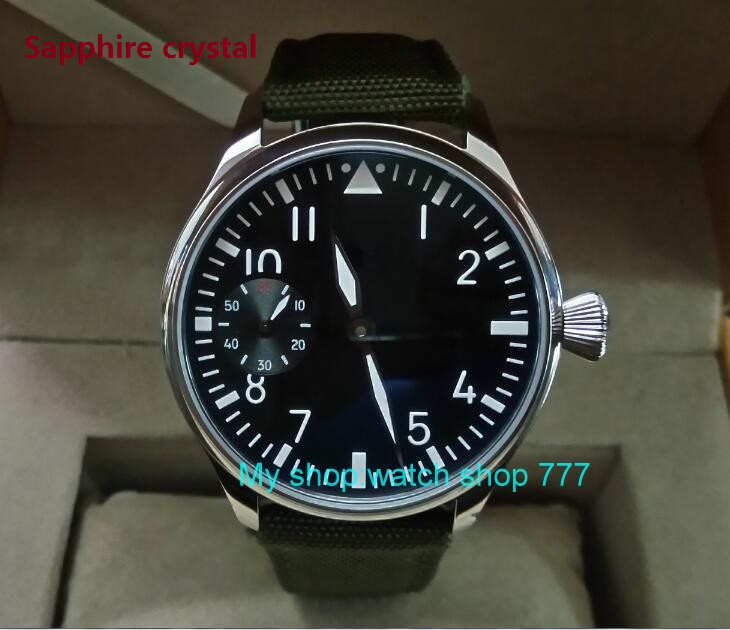 Здесь можно купить  Sapphire crystal 44mm PARNIS black dial Asian ST3600/6497 Mechanical Hand Wind movement green Luminous men