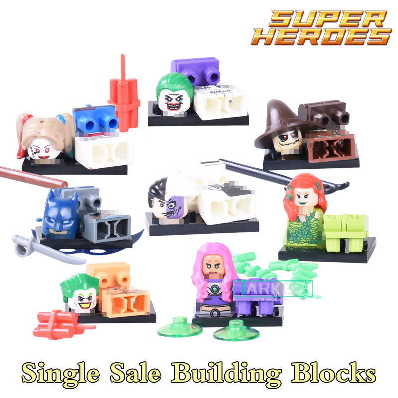 1pc Joker Harley Quinn Suicide Squad Building Blocks SuperHeroes Batman Scarecrow Two Face diy figures Kids DIY Toys Xmas Gift super heroes riddler scarecrow two face bruce wayne batman penguin aaron cash harley quinn mime building blocks kids toys kf1041