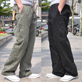 Free shipping Summer male casual pants loose plus size overalls 100% cotton Straight Elastic Waist loose long trousers L-6XL